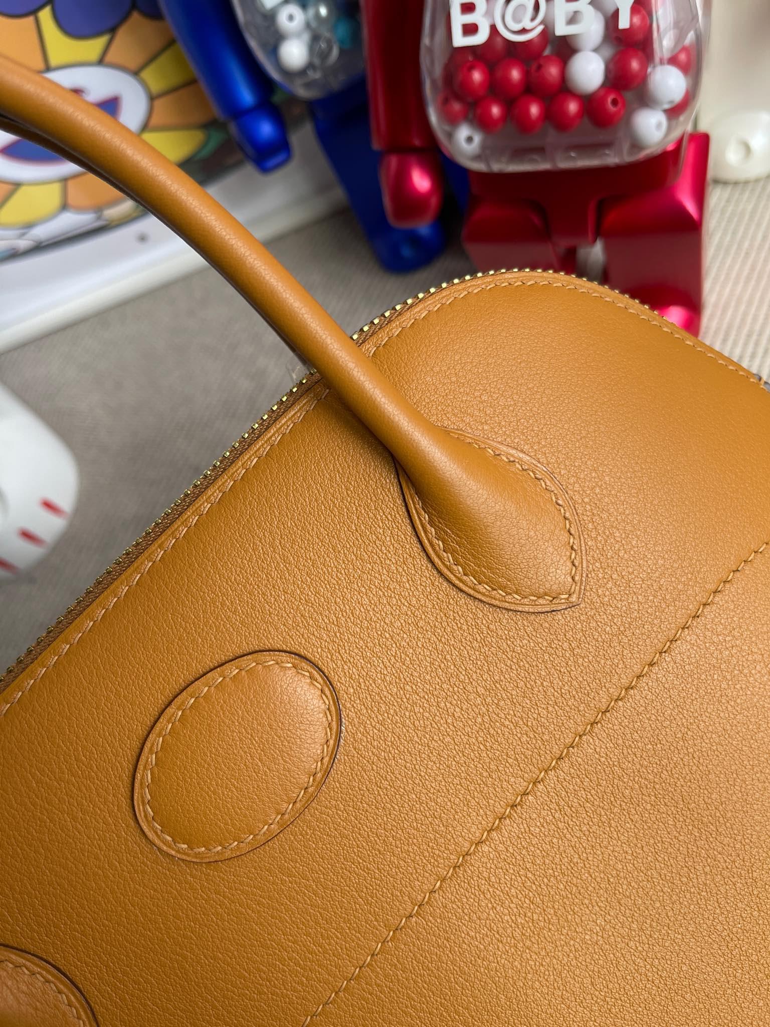 Hermès(爱马仕)Bolide 保龄球包 Swift 2S 芝麻色 Sesame 金扣 27cm 顶级手缝