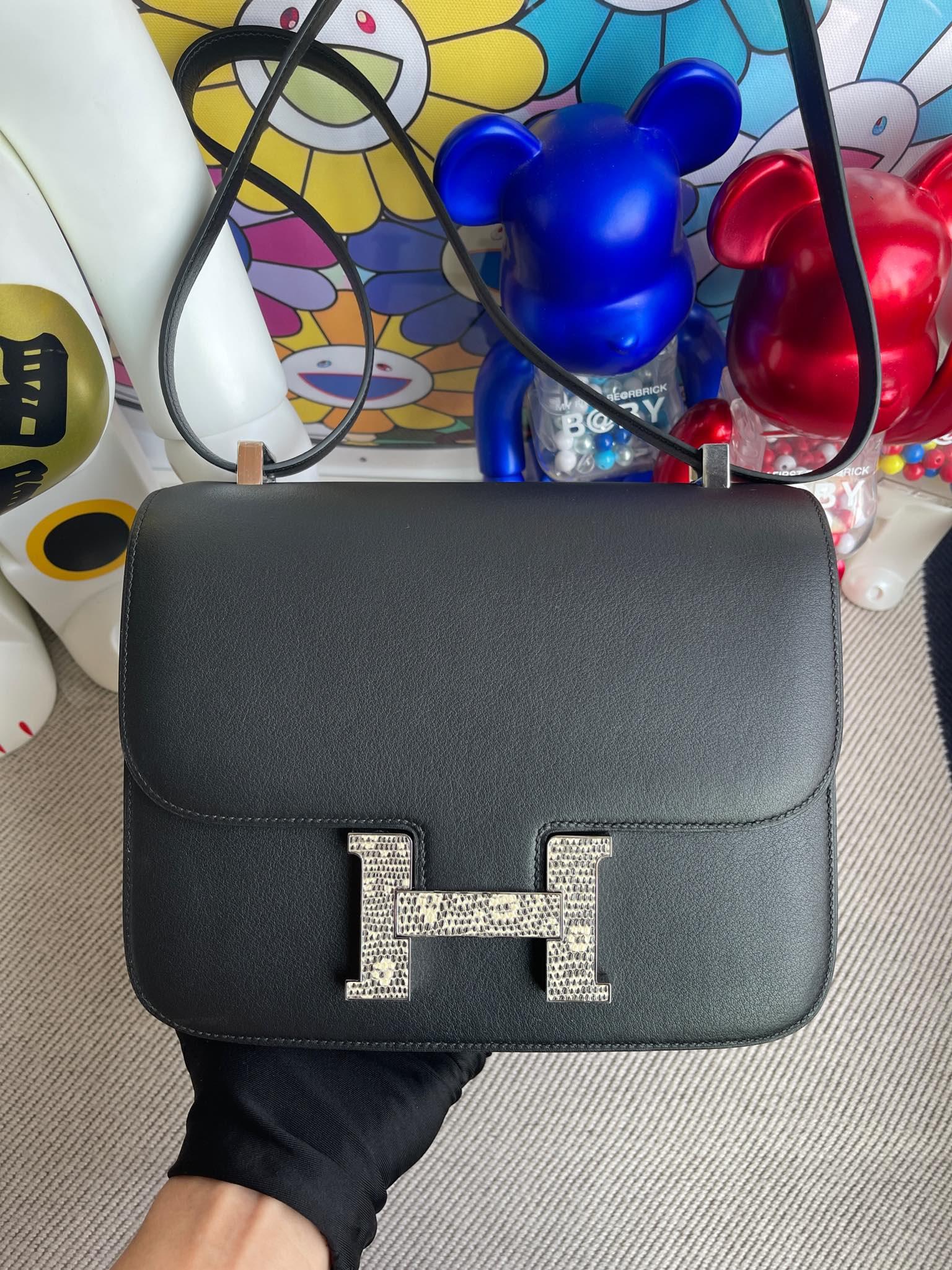 Hermès(爱马仕)Constance 康斯坦斯 Swift 黑色 拼 蜥蜴扣 24cm 顶级手缝