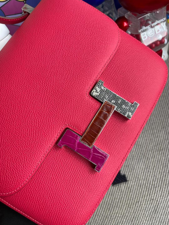 Hermès(爱马仕)Constance 康斯坦斯 Epsom i6 极致粉 多拼色 珐琅扣 24cm