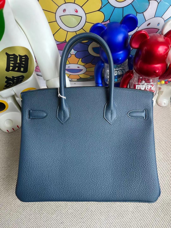 Hermès(爱马仕)Birkin 铂金包 Togo S4 深邃蓝 银扣 30cm