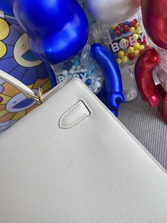 Hermès(爱马仕)Kelly 凯莉包 Epsom Ck10 奶昔白 金扣 28cm 顶级工艺 全手工缝制
