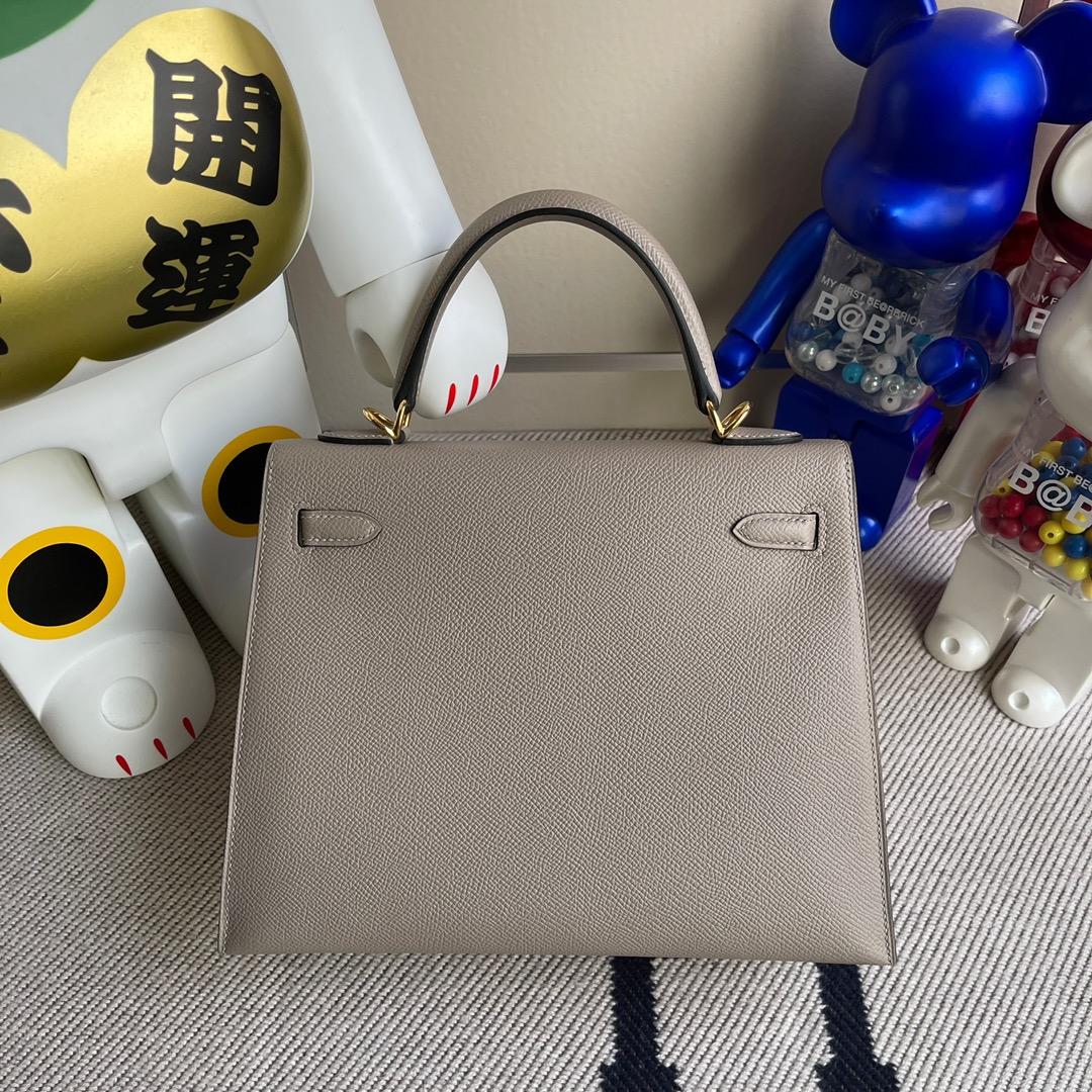 Hermès(爱马仕)Kelly 凯莉包 Epsom 原厂掌纹皮 M8 沥青灰 gris ashpite 金扣 25cm 顶级手缝