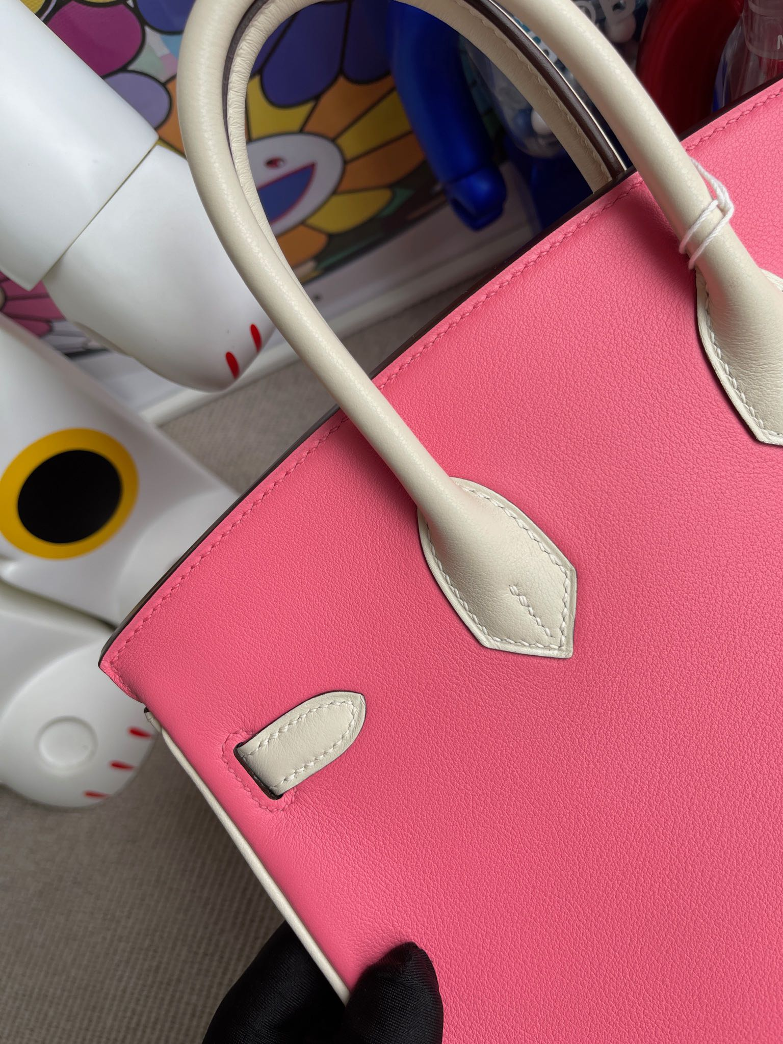 Hermès(爱马仕)Birkin 铂金包 Swift 唇膏粉 拼 奶白 金扣 马蹄印 25cm 顶级手缝