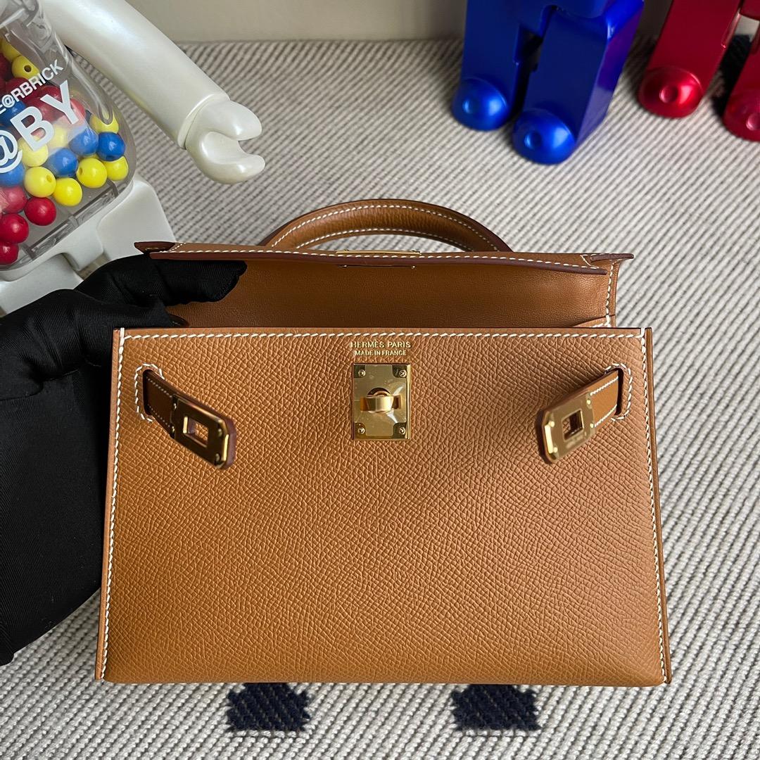 Hermès(爱马仕)Mini kelly ll Epsom 原厂掌纹皮 ck37 金棕色 gold 金扣 顶级手缝