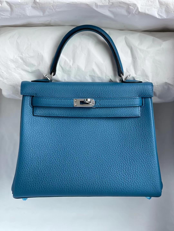 Hermès(爱马仕)Kelly 凯莉包 togo 加利西亚蓝 银扣 25cm