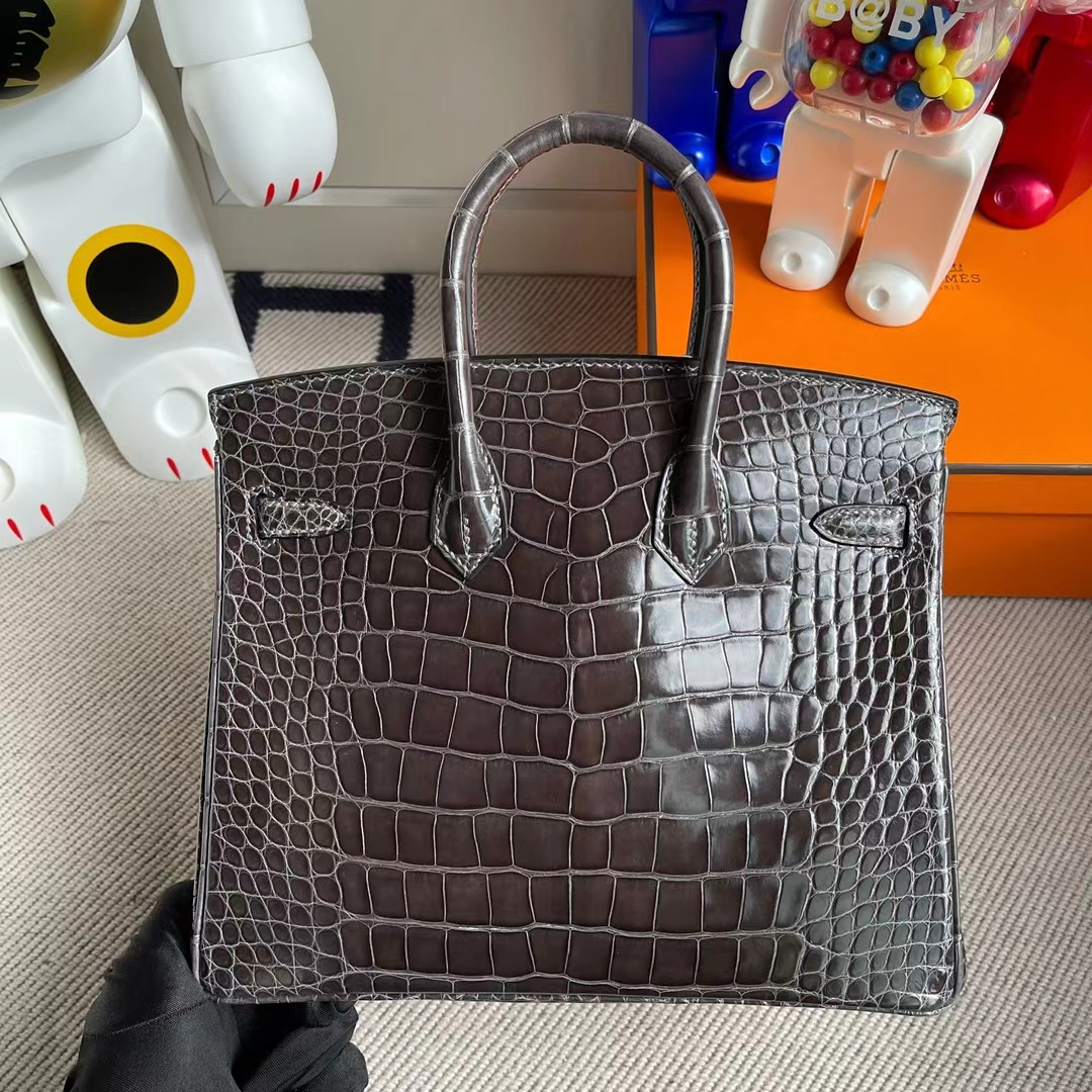 Hermès(爱马仕)Birkin 铂金包 亮面美洲鳄 Ck88 石墨灰 金扣 shiny alligator crocodile 25cm