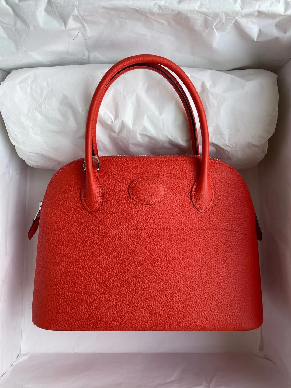 Hermès(爱马仕)Bolide 保龄球包 Clemence 9J 火焰橙 银扣 27cm