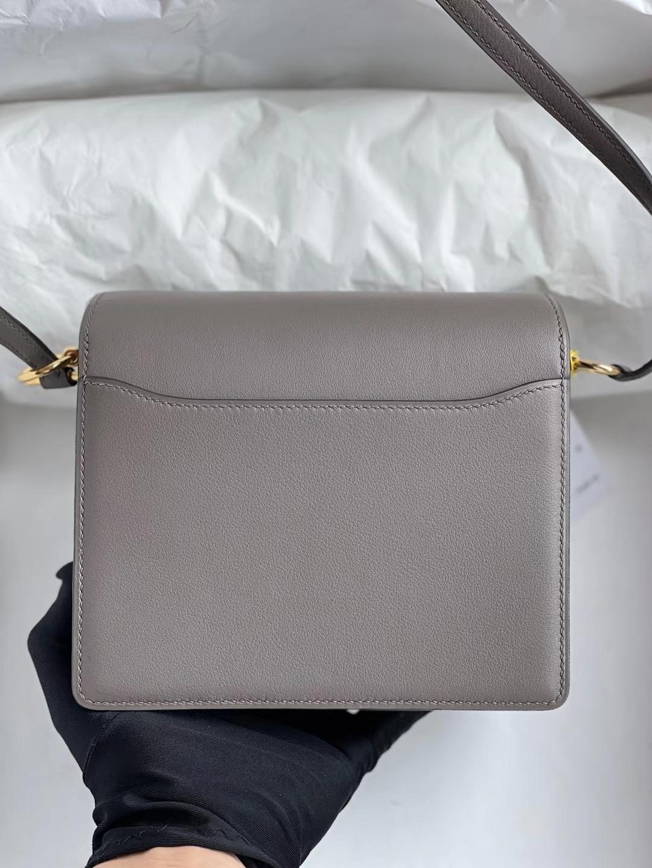Hermès(爱马仕)Roulis 猪鼻子 Swift M8 沥青灰 金扣 19cm